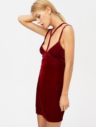 Velvet Strappy Dress - BURGUNDY XL Mobile