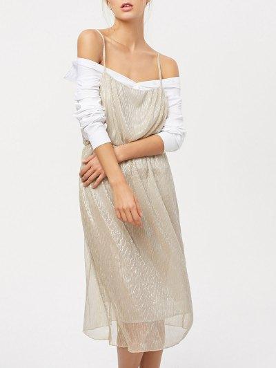 Midi Vestido De Cami - Champán
