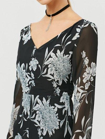 High Slit Floral Print Maxi Dress - BLACK L Mobile