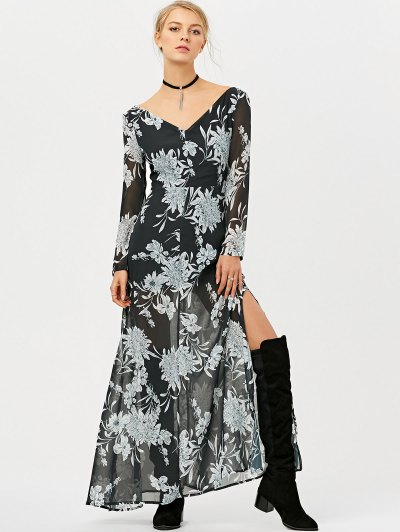 High Slit Floral Print Maxi Dress - BLACK XL Mobile