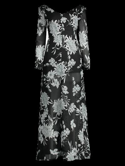 High Slit Floral Print Maxi Dress - BLACK 2XL Mobile