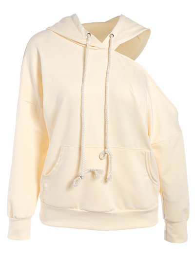 Oversized Cold Shoulder Hoodie - LIGHT APRICOT S Mobile