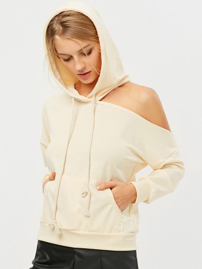 Oversized Cold Shoulder Hoodie - LIGHT APRICOT XL Mobile