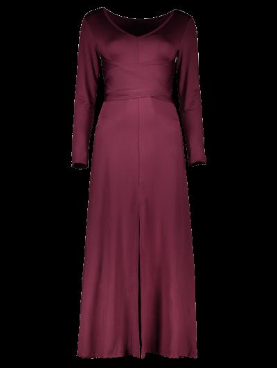 Belted High Slit Maxi Dress - PURPLISH RED S Mobile