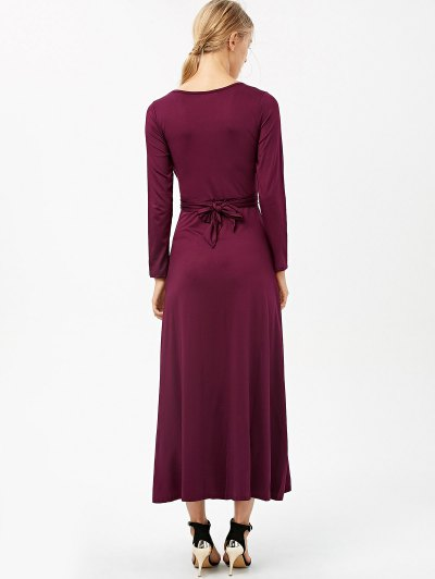Belted High Slit Maxi Dress - PURPLISH RED M Mobile