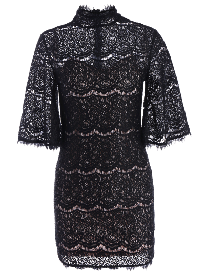 Flare Sleeve Hollow Out Lace Mini Dress - BLACK XS Mobile
