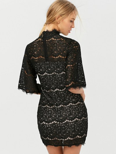 Flare Sleeve Hollow Out Lace Mini Dress - BLACK L Mobile