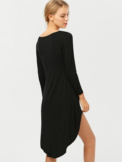High-Low Asymmetrical Casual Dress - BLACK S Mobile