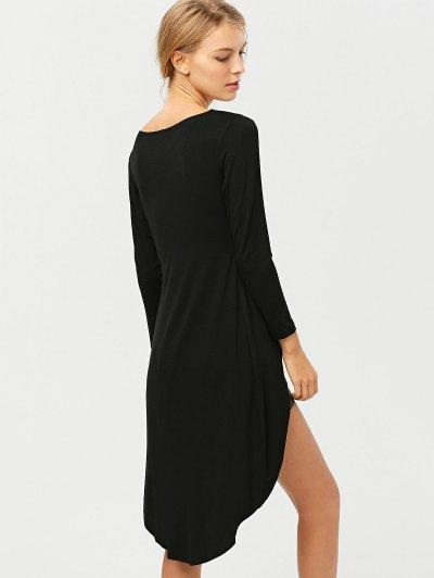 High-Low Asymmetrical Casual Dress - BLACK M Mobile