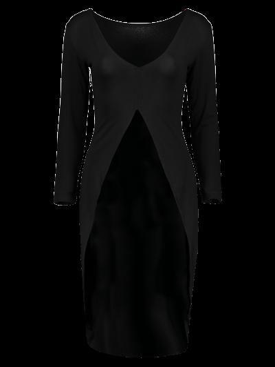 High-Low Asymmetrical Casual Dress - BLACK L Mobile