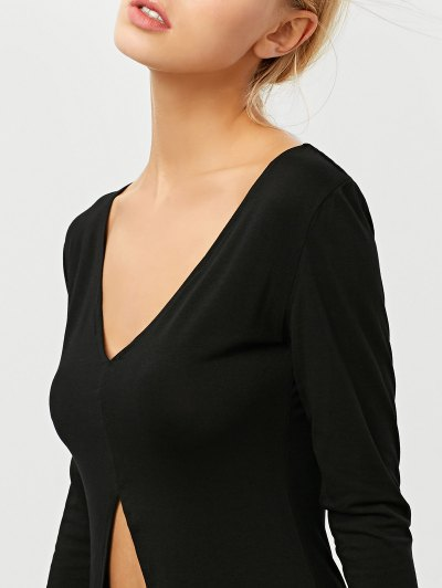 High-Low Asymmetrical Casual Dress - BLACK 2XL Mobile