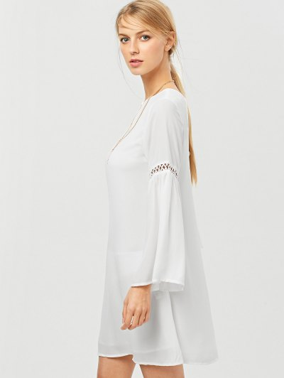 String Cut Out Flare Sleeve A-Line Dress - WHITE XS Mobile