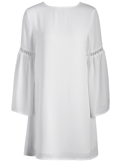 String Cut Out Flare Sleeve A-Line Dress - WHITE S Mobile