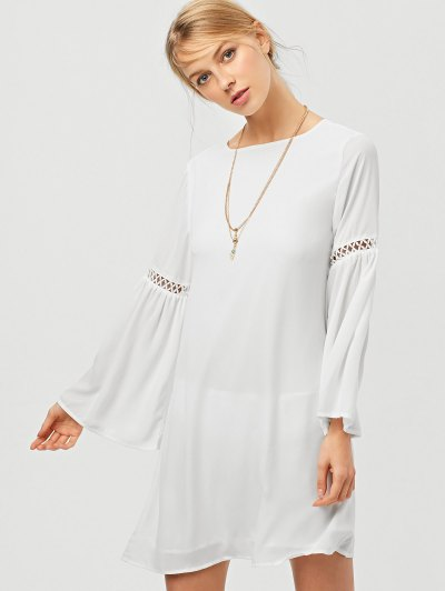 String Cut Out Flare Sleeve A-Line Dress - WHITE 2XL Mobile