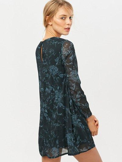 Long Sleeve Floral Jacquard A-Line Dress - BLACK XS Mobile