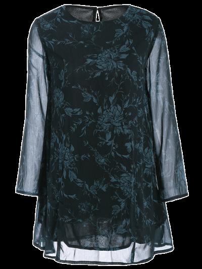 Long Sleeve Floral Jacquard A-Line Dress - BLACK M Mobile