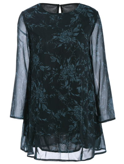 Long Sleeve Floral Jacquard A-Line Dress - BLACK XL Mobile