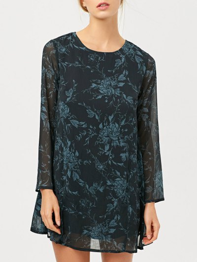 Long Sleeve Floral Jacquard A-Line Dress - BLACK 2XL Mobile