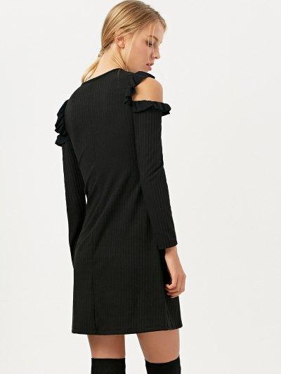 Long Sleeve Cold Shoulder A-Line Dress - BLACK L Mobile