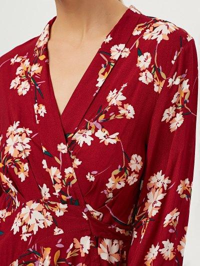 Floral Asymmetric Wrap Dress - RED M Mobile