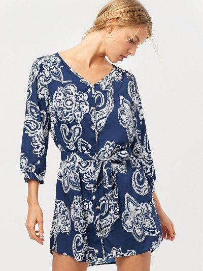 Vintage Printed Shirt Dress - BLUE XL Mobile