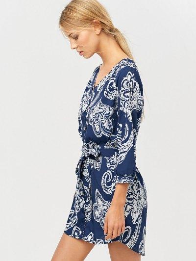 Vintage Printed Shirt Dress - BLUE 2XL Mobile