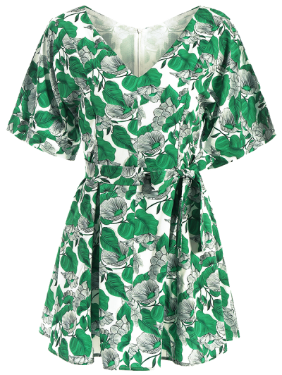 Leaves Print Wrap A-Line Dress - GREEN S Mobile