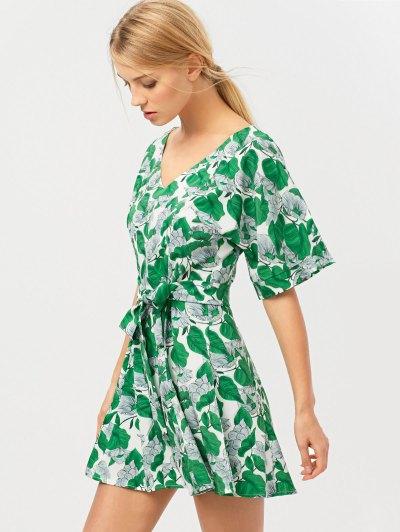 Leaves Print Wrap A-Line Dress - GREEN L Mobile