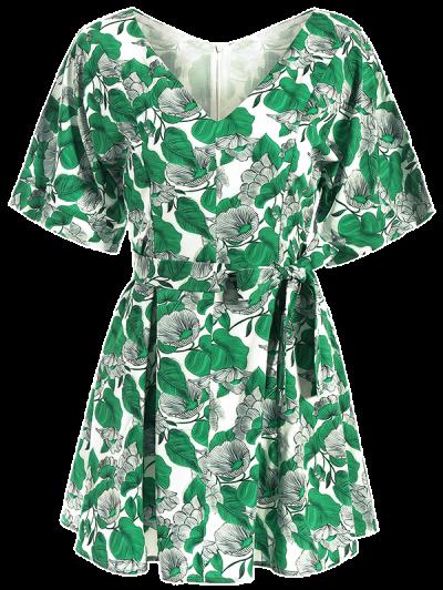 Leaves Print Wrap A-Line Dress - GREEN XL Mobile
