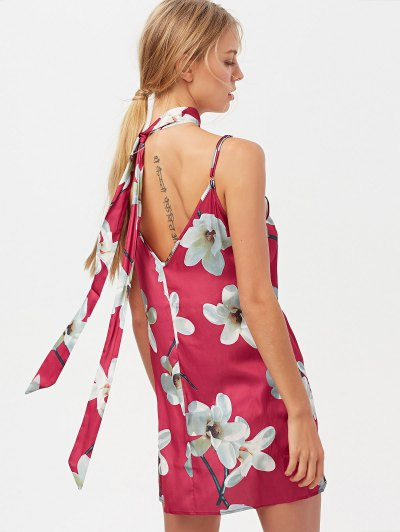 Floral Mini Dress With Silk Choker - RED L Mobile