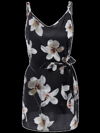 Floral Mini Dress With Silk Choker - BLACK S Mobile