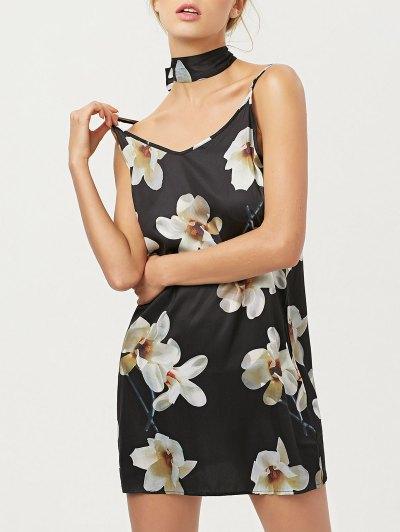 Floral Mini Dress With Silk Choker - BLACK M Mobile