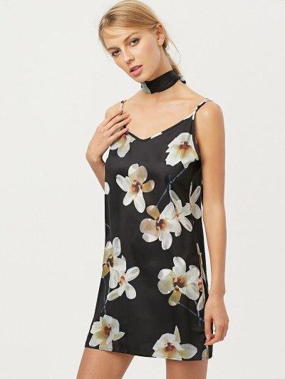 Floral Mini Dress With Silk Scarfs - BLACK L Mobile