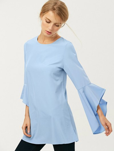 FItting Flare Sleeve Blouse - LIGHT BLUE M Mobile