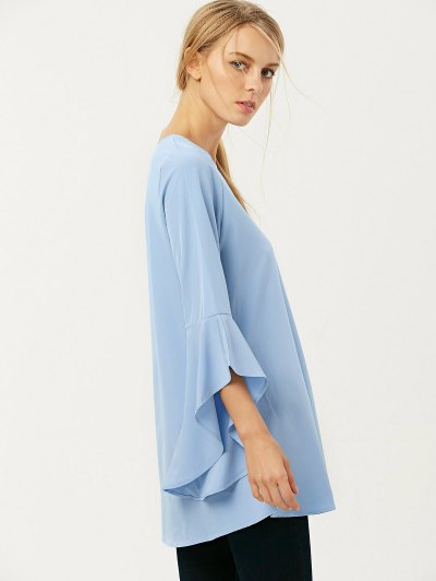FItting Flare Sleeve Blouse - LIGHT BLUE L Mobile