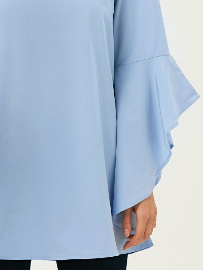 FItting Flare Sleeve Blouse - LIGHT BLUE XL Mobile