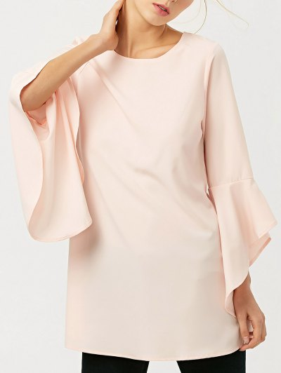 FItting Flare Sleeve Blouse - LIGHT APRICOT PINK S Mobile