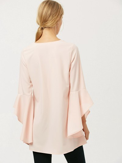 FItting Flare Sleeve Blouse - LIGHT APRICOT PINK M Mobile
