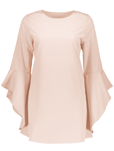 FItting Flare Sleeve Blouse - LIGHT APRICOT PINK L Mobile