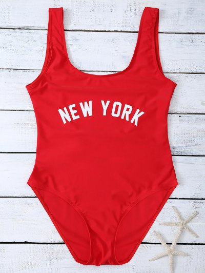 Lettering U Neck High Cut Swimsuit - RED M Mobile