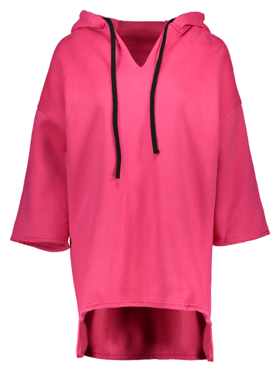 High-Low Wool Blend Hoodie - RED ONE SIZE Mobile