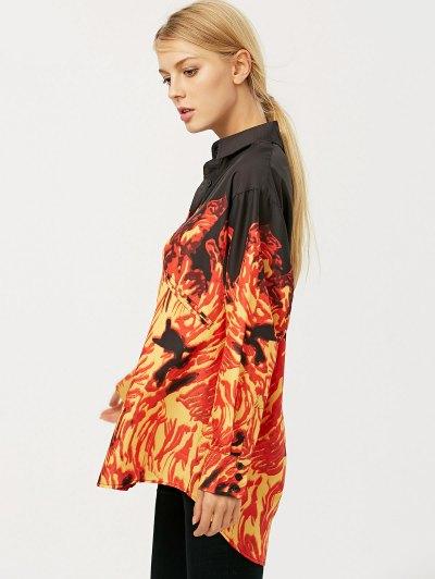 Oversized Fire Print Shirt - JACINTH S Mobile
