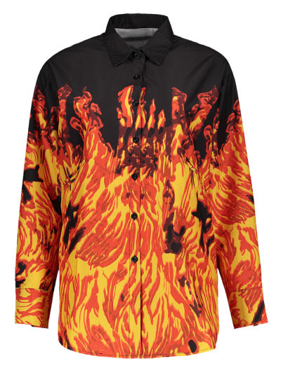 Oversized Fire Print Shirt - JACINTH L Mobile
