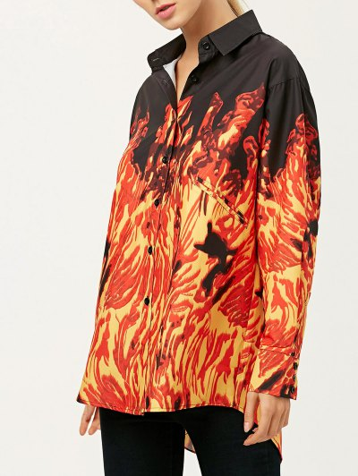 Oversized Fire Print Shirt - JACINTH L Mobile