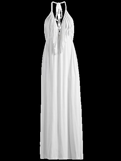 Backless Halter Fringe Maxi Dress - WHITE XS Mobile