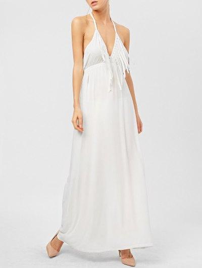 Backless Halter Fringe Maxi Dress - WHITE S Mobile