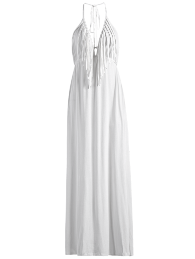 Backless Halter Fringe Maxi Dress - WHITE M Mobile