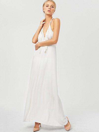 Backless Halter Fringe Maxi Dress - WHITE XL Mobile
