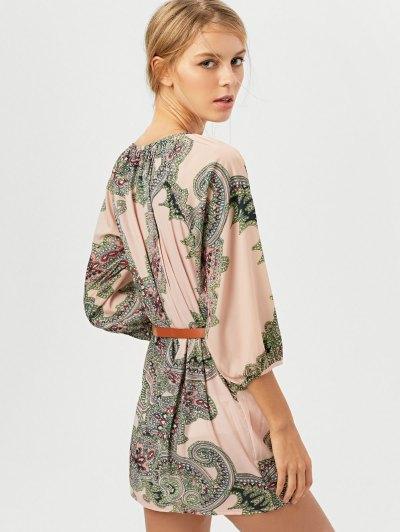 Lantern Sleeve Belted Paisley Dress - APRICOT XS Mobile