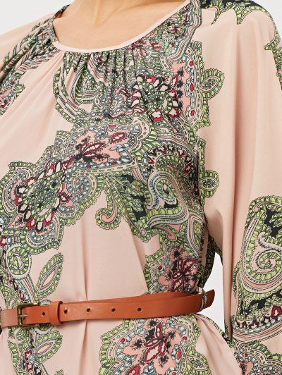 Lantern Sleeve Belted Paisley Dress - APRICOT M Mobile